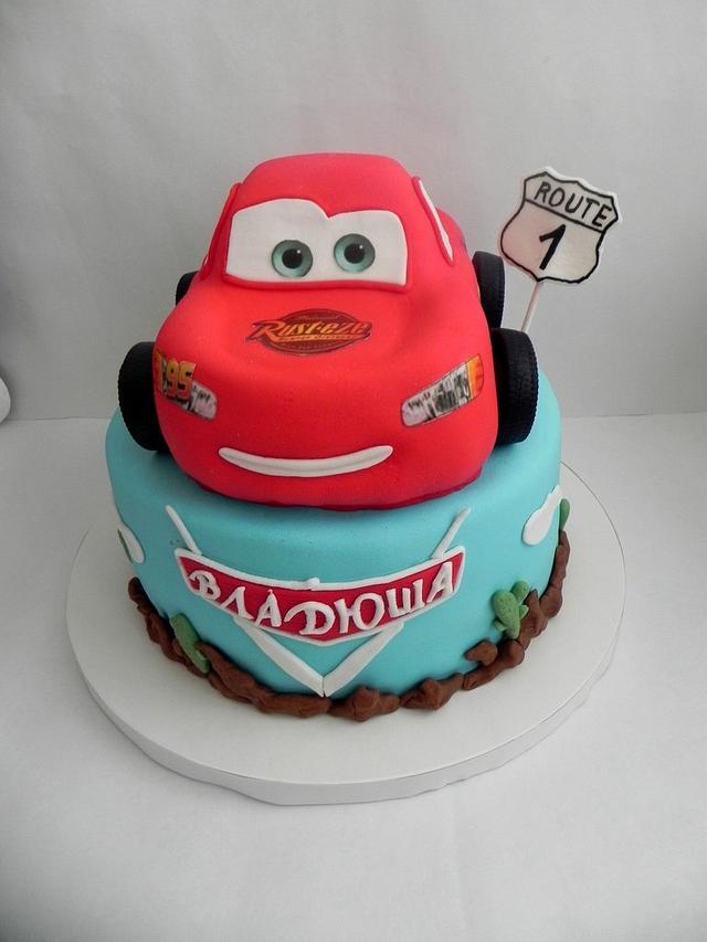 Swell First Birthday Cars Cake By Victoria Cakesdecor Funny Birthday Cards Online Hendilapandamsfinfo