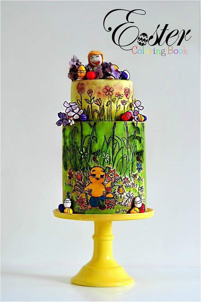 The Easter Egg Hunt - Easter Coloring Book Cake Collaboration