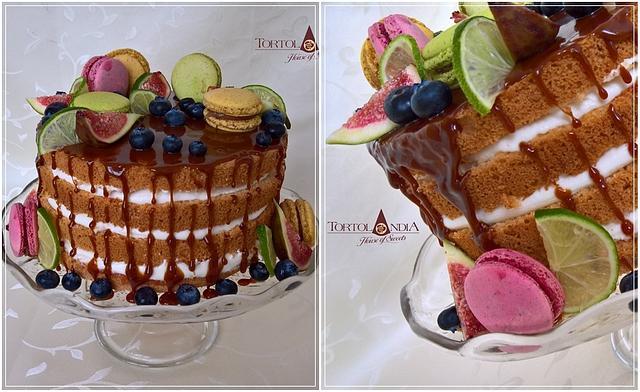 Naked cake with fresh fruits