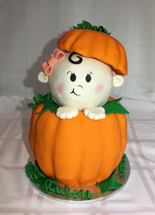 Pumpkin surprise baby shower cake