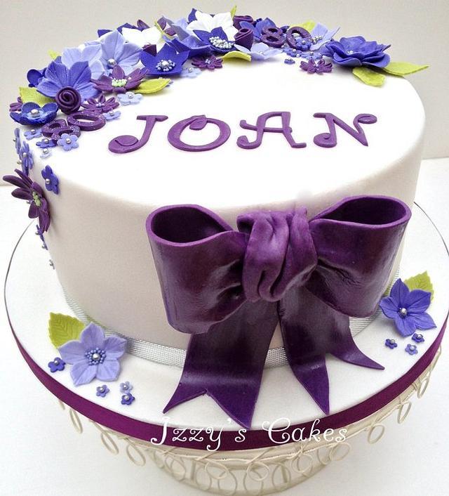 Purple and lilac 80th birthday cake