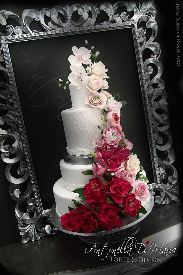 Flower cascade cake in the frame