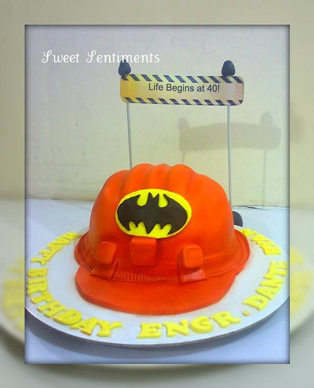 Hard hat cake for a Batman lover