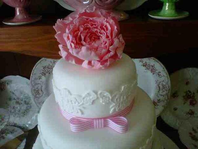 3  Tier Sugar Peony Rose Cake