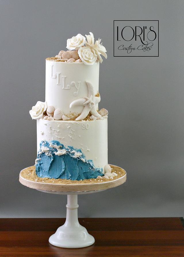 Cool Beach Birthday Cake By Lori Mahoney Loris Custom Cakesdecor Funny Birthday Cards Online Overcheapnameinfo