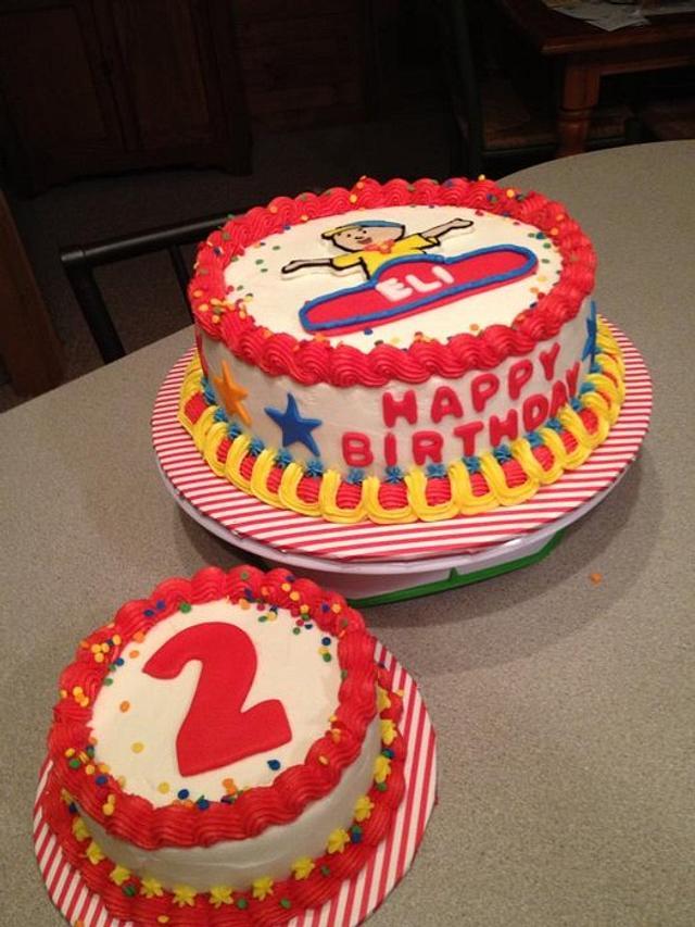 Cool Caillou Birthday Cake And Smash Cake Cake By Tonya Cakesdecor Funny Birthday Cards Online Alyptdamsfinfo