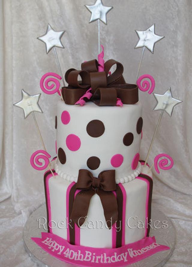 Brown & Pink Birthday Cake