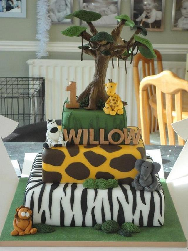 Fine Jungle Safari Birthday Cake Cake By Krumblies Wedding Cakesdecor Funny Birthday Cards Online Alyptdamsfinfo