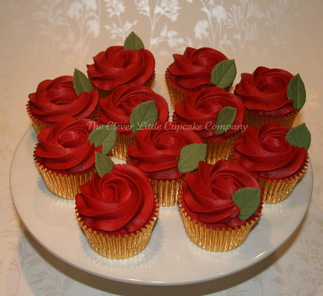 Ruby Wedding Rose cupcakes