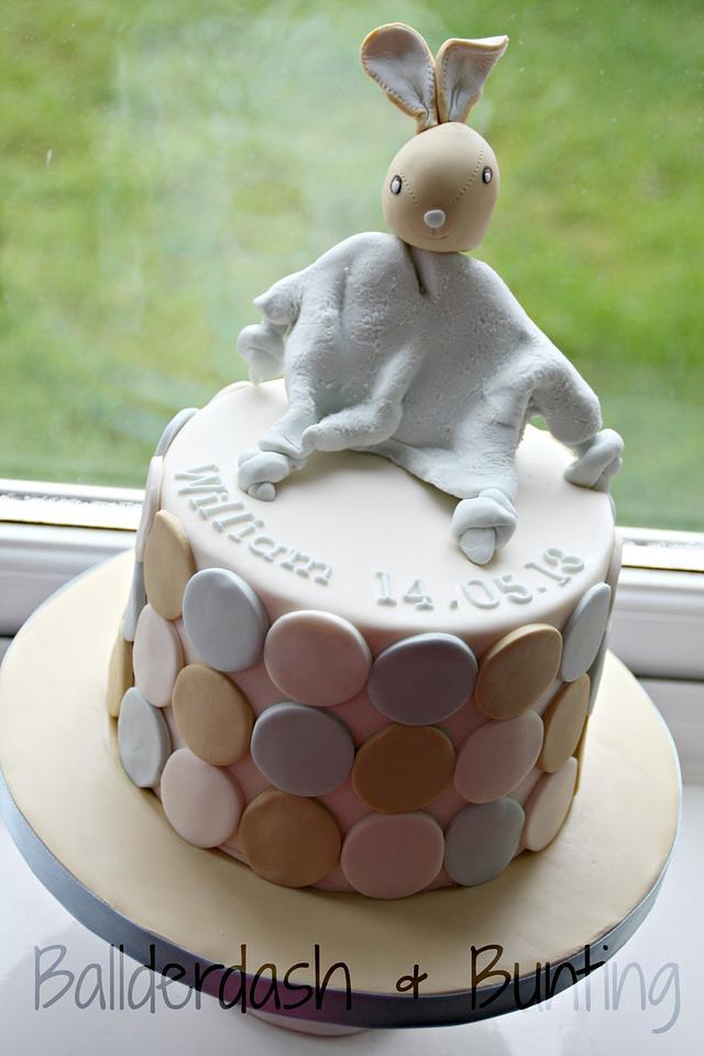 Snuggly Bunny Christening Cake