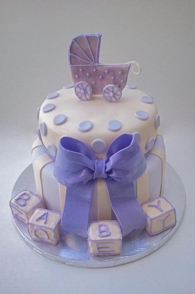 Lavender and Cream Baby Shower Cake