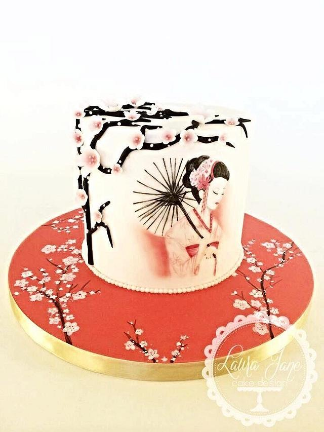 Hand painted japanese cake
