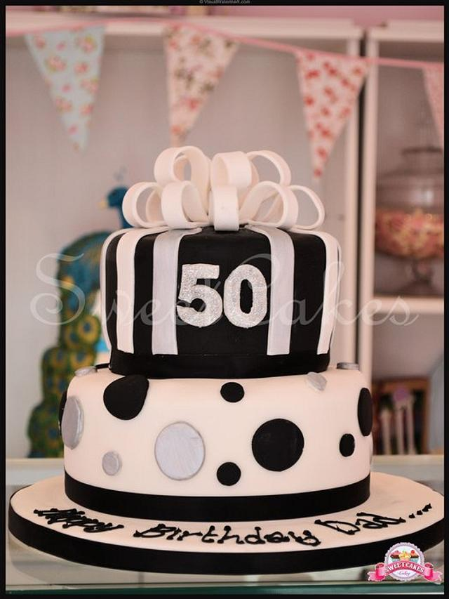 2 Tier black white and glittery 50th birthday cake