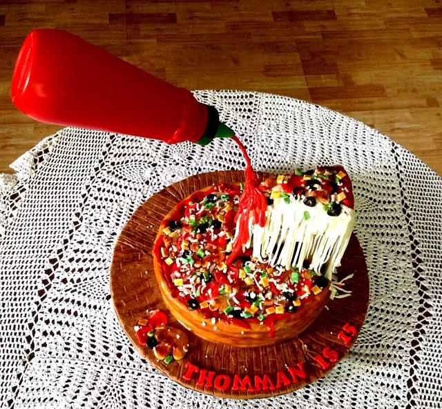 Gravity Defying Pizza Cake