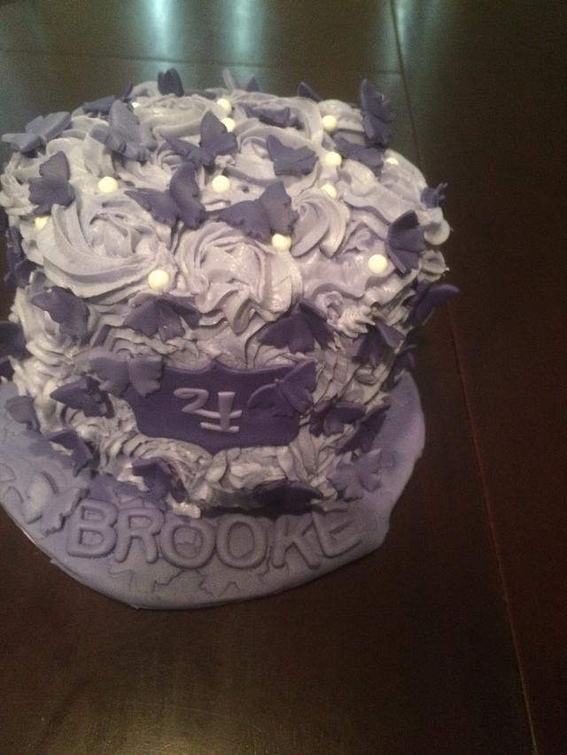 Purple rosette butterfly cake