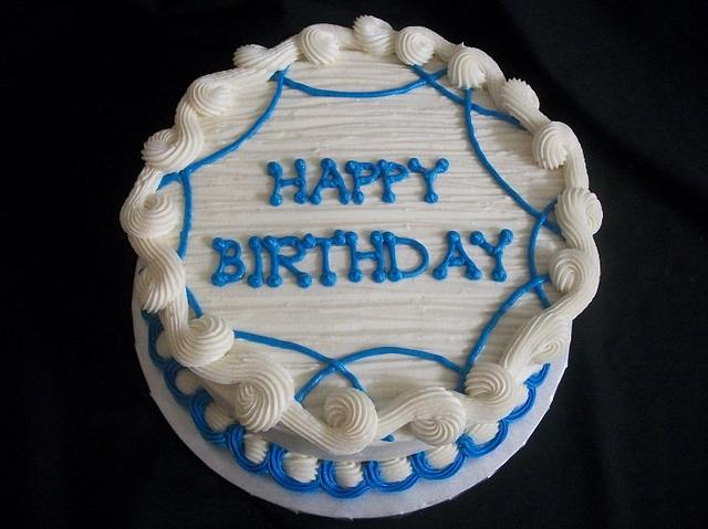 Pleasant Simple Blue And White Birthday Cake Cake By Caymancake Cakesdecor Funny Birthday Cards Online Aeocydamsfinfo