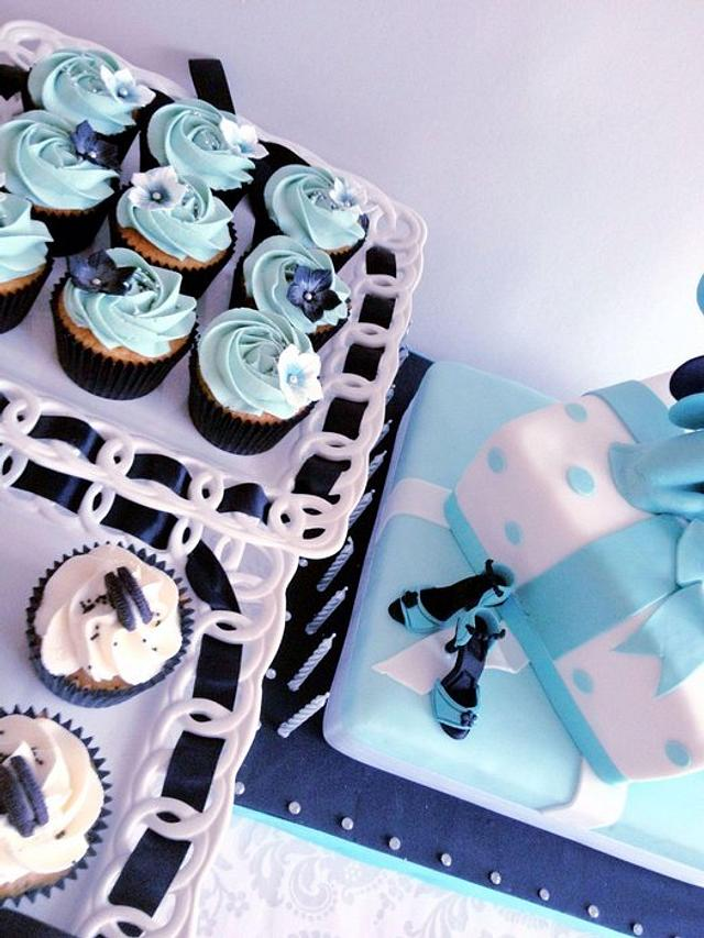 21st Birthday, two tiered cake with cupcakes