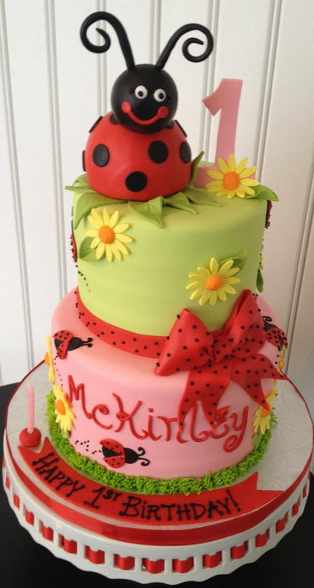 Admirable Lady Bug First Birthday Cake Cake By Bianca Cakesdecor Personalised Birthday Cards Sponlily Jamesorg