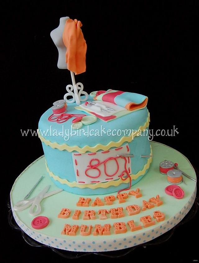 Sewing themed 80th birthday cake