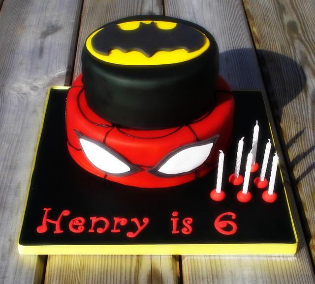 Batman and Spiderman cake