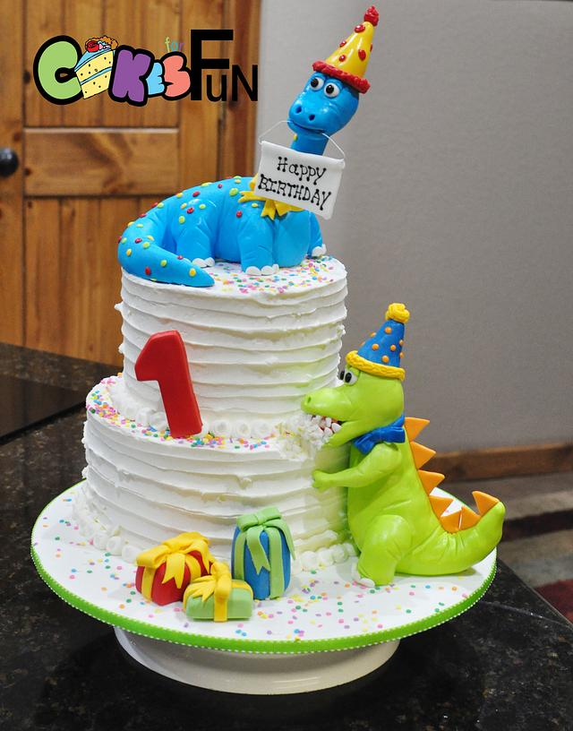 Terrific Dinosaur First Birthday Cake Cake By Cakes For Fun Cakesdecor Funny Birthday Cards Online Eattedamsfinfo