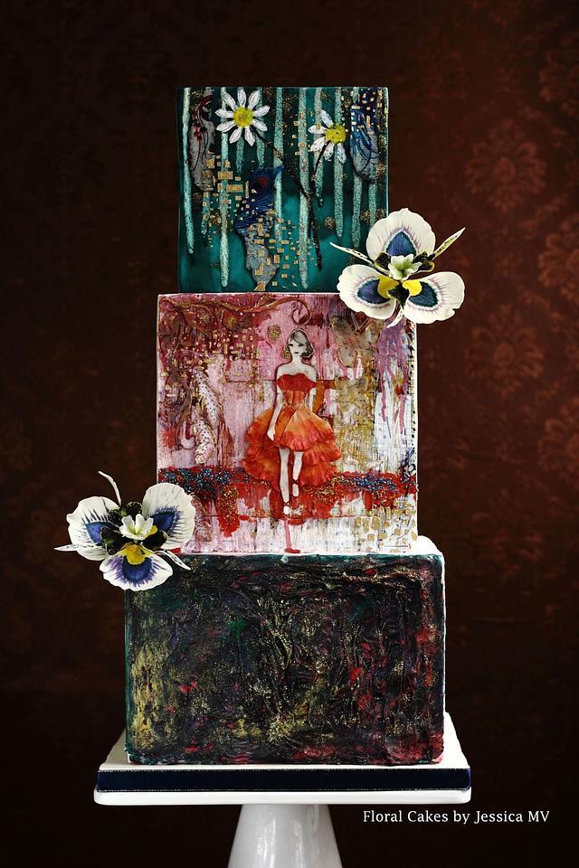 MIXED MEDIA INSPIRED WEDDING CAKE