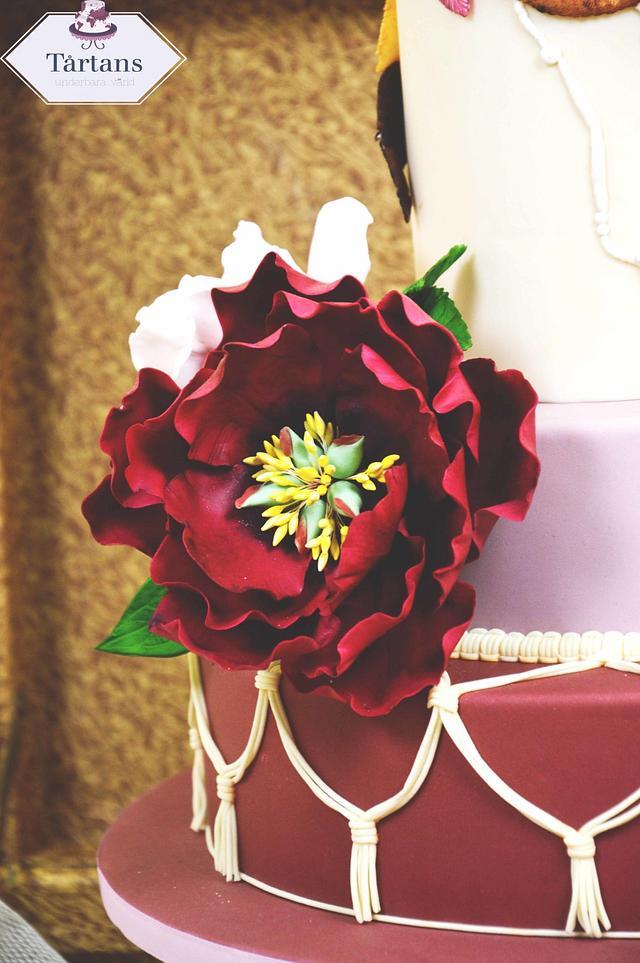 Vintage bohemian wedding cake for Cake International