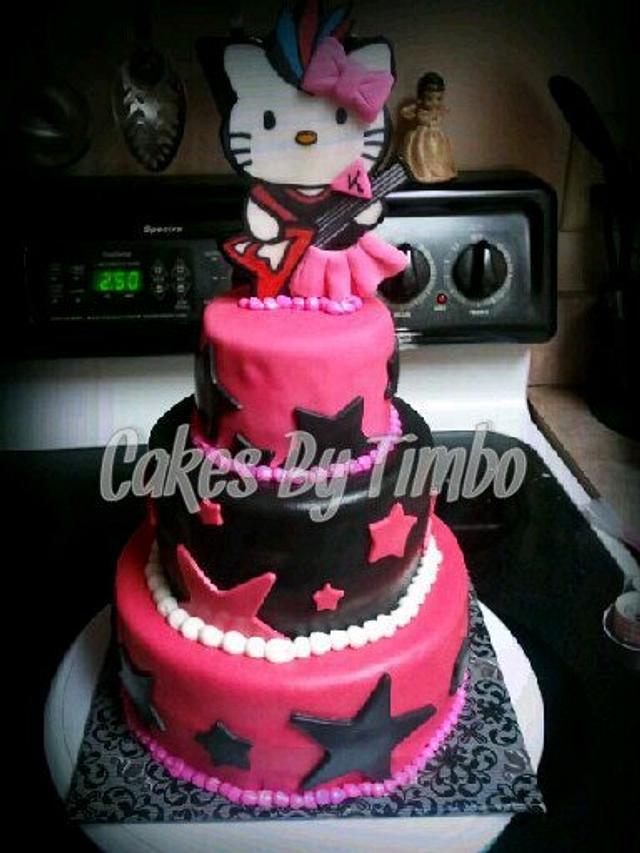 Peachy Hello Kitty Rockstar Cake By Timbo Sullivan Cakesdecor Funny Birthday Cards Online Kookostrdamsfinfo