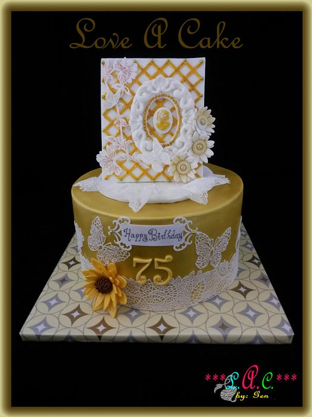 Pleasant Cameo N Lace Themed 75Th Birthday Cake Cake By Cakesdecor Funny Birthday Cards Online Bapapcheapnameinfo