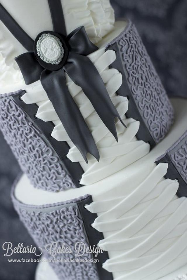 3 tier corset cake with cornelli lace and ruffles