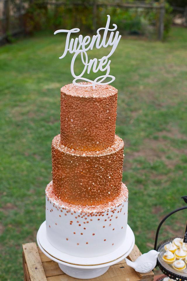 Bronze Confetti Cake