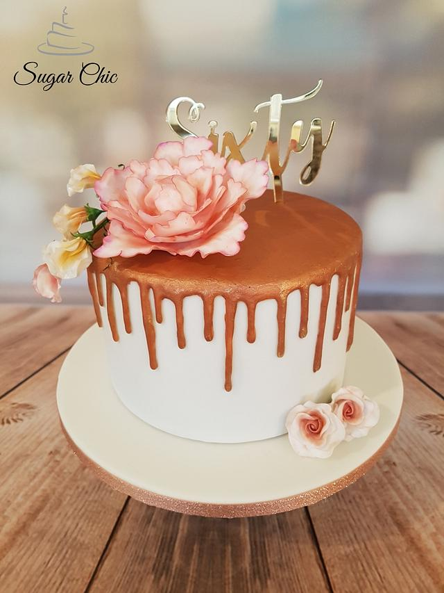 Incredible Rose Gold Drip Birthday Cake Cake By Sugar Chic Cakesdecor Personalised Birthday Cards Veneteletsinfo