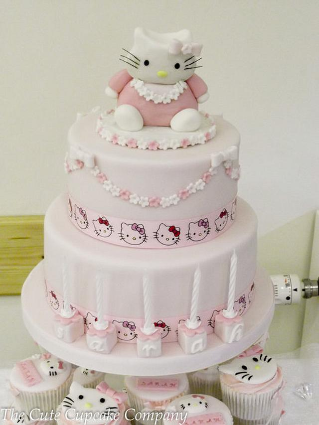 Hello Kitty 2 tier birthday cake and matching cupcakes