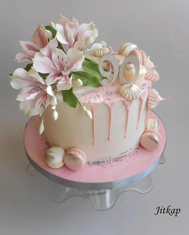 Birthday alstromerias cake