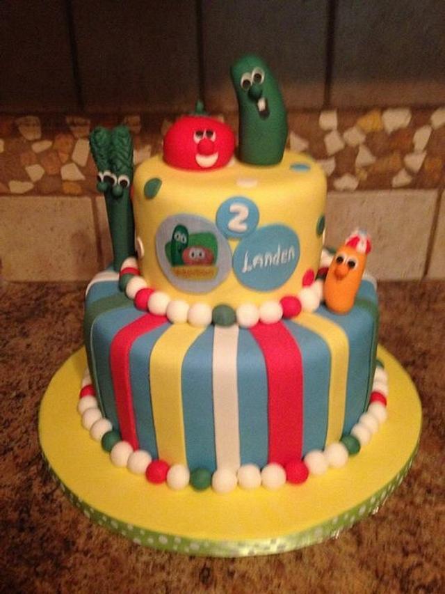 Strange Veggie Tales Cake By Michelle Cakesdecor Personalised Birthday Cards Veneteletsinfo