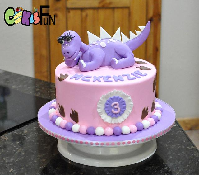 Remarkable Purple Dinosaur Birthday Cake Cake By Cakes For Fun Cakesdecor Funny Birthday Cards Online Eattedamsfinfo