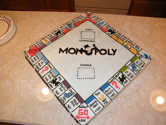Monopoly board birthday cake