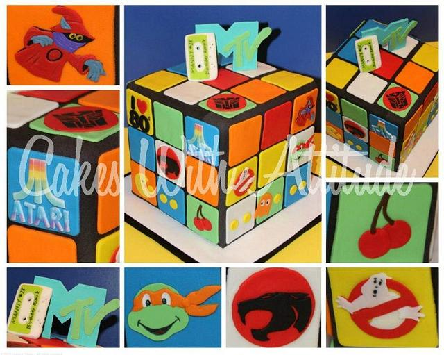 Rubik's Cube 80's Themed Cake