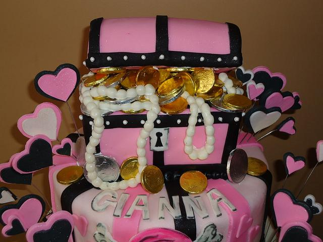 Pirate Chest GIRLS Cake with 3D Chest, Chocolate Coins