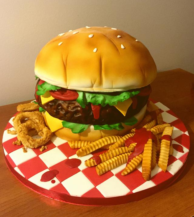 Giant Hamburger cake, fries and onion rings