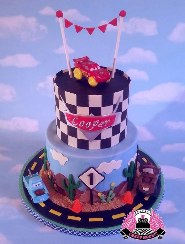 Terrific Disney Cars Themed First Birthday Cake Cake By Cakes Cakesdecor Funny Birthday Cards Online Hendilapandamsfinfo