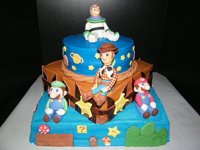 Toy Story/Super Mario Cake