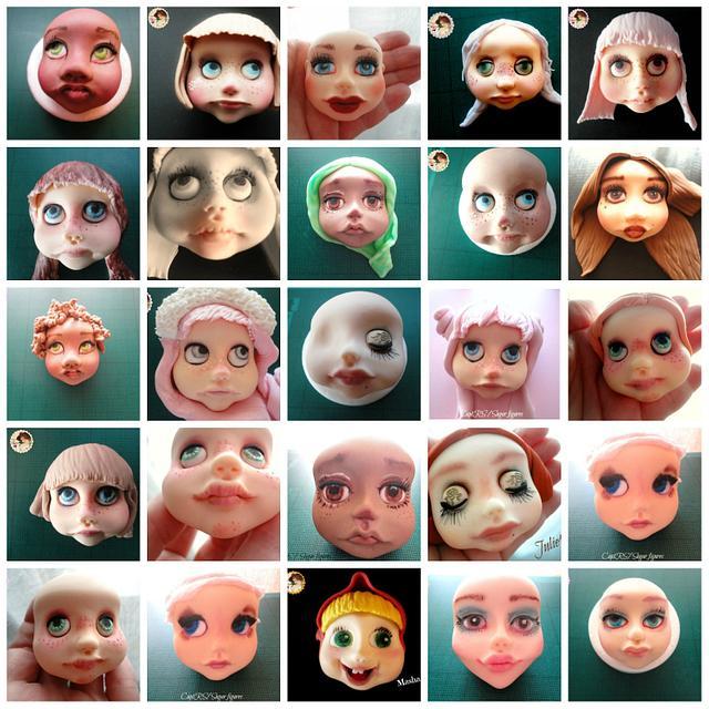 Sugar faces without face moulds.