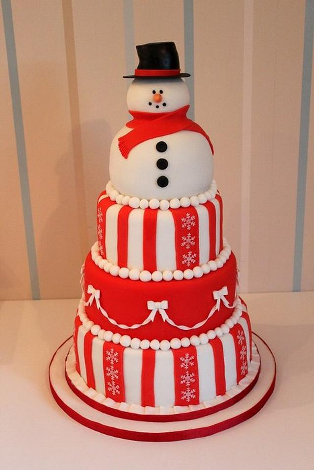 Snowman Christmas 4 tier Cake