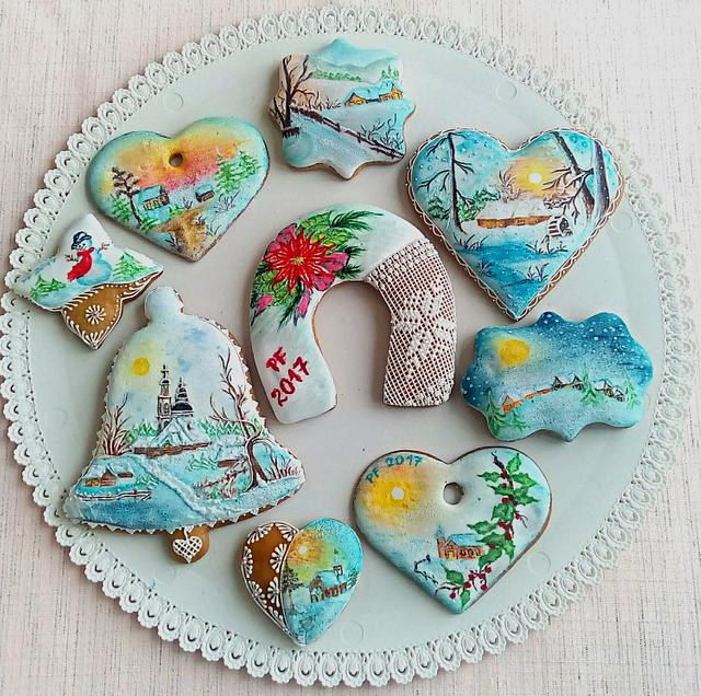 Hand painted christmas gingerbread