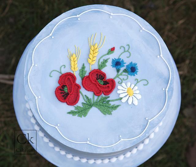 Summer Stitchwork Royal Iced Cake