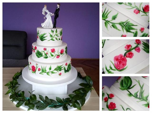 Flowers wedding cake