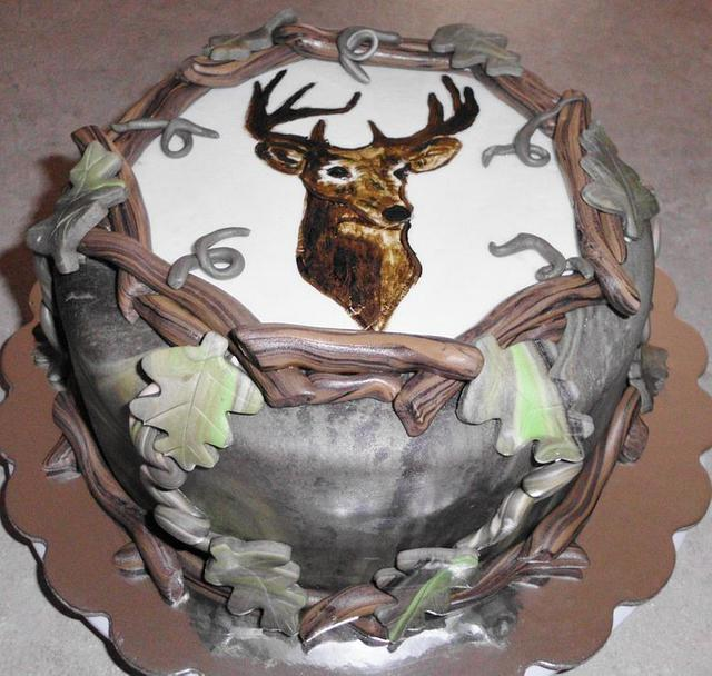 Hand Painted Deer Cake