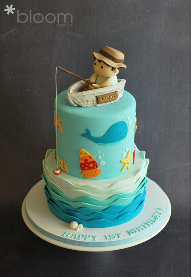 Peachy Fishing Boat 1St Birthday Cake Cake By Bloomcakeco Cakesdecor Funny Birthday Cards Online Elaedamsfinfo