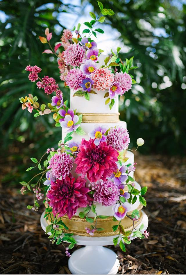 Colorful Sugar Flower Wedding Cake